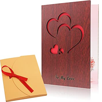Creawoo Handmade Walnut Wood Love Greeting Card With Unique Gift