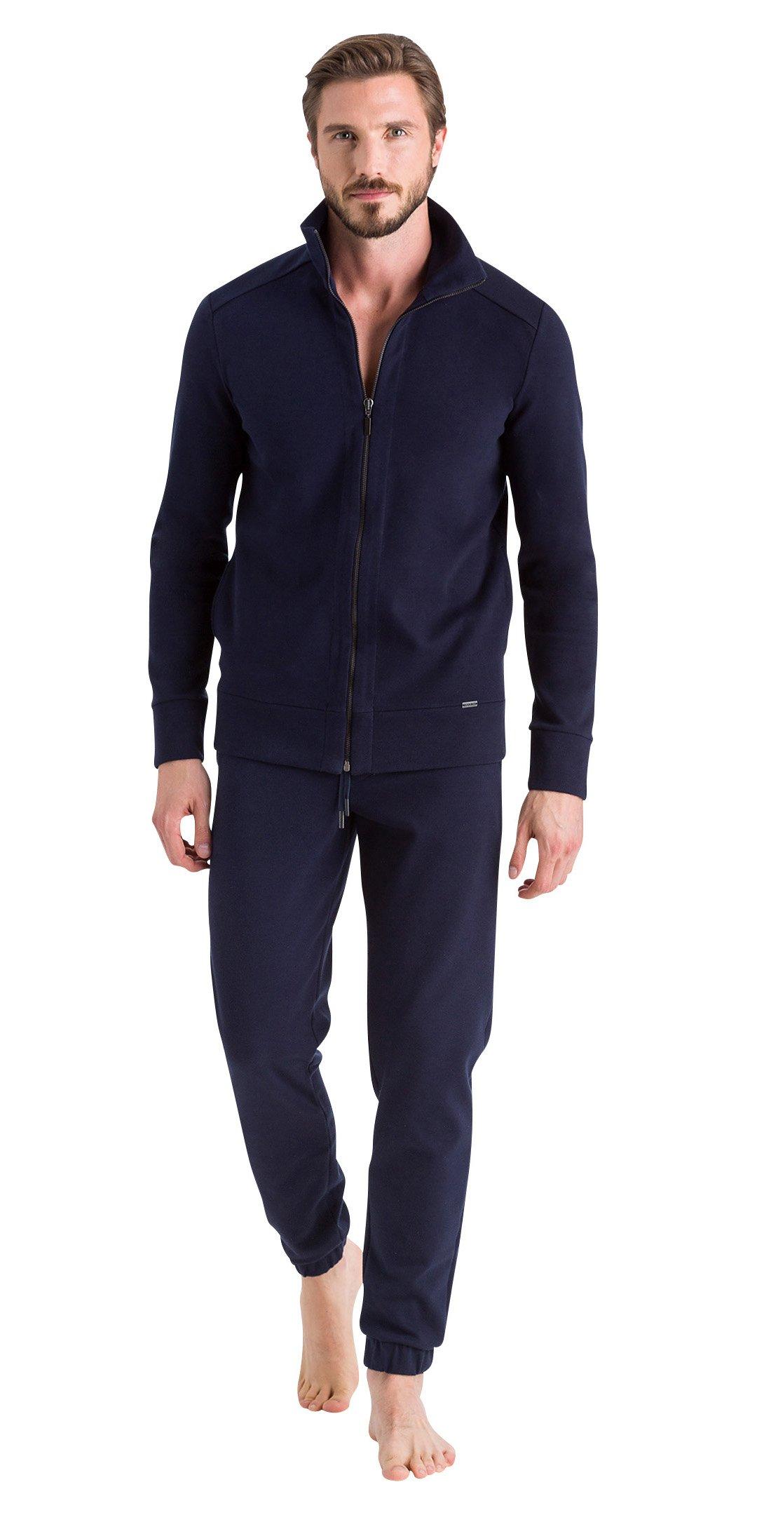 HANRO Men's Benjamin Zip Front Jacket, Doubleface Marine/Ebony, XX-Large by HANRO