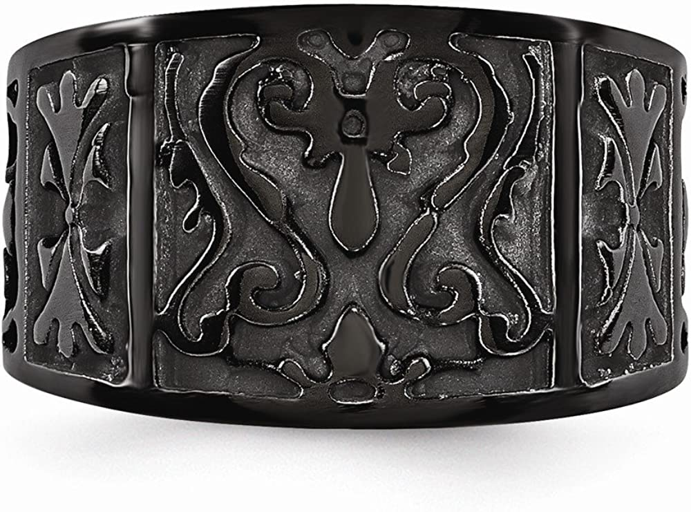 Mens Jewelry and Accessories Rings Wedding Bands Edward Mirell Black Ti Flat Casted Design 14mm Ring Size 8