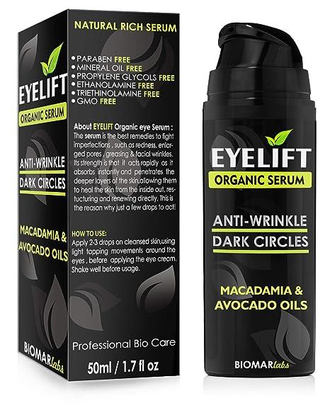 EYELIFT Organico 100% Facial - Bio Suero/Ojeras Bajo Los Ojos/Antiedad y Anti Bolsas/Antienvejecimiento Suero para la Cara Reduce y las Arrugas, ...