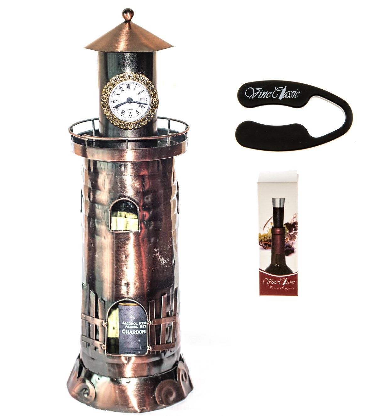 Fabulous Lighthouse with a Clock on Top of the Tower Wine Bottle Holder Plus a Wine Foil Cutter and a Wine Vacuum Stopper by Upscale Innovations