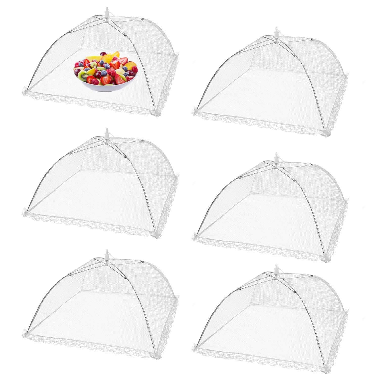 GRAWILLE 6 Pack Pop-up Mesh Food Cover 18x18 Inches Mesh Screen Food Cover Canopy Tents Table Cover for Party Panic BBQ Outdoor Indoor