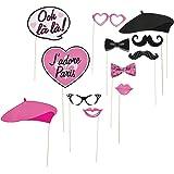 Fun Express - Paris Photo Stick Props for Birthday - Apparel Accessories - Costume Accessories - Costume Props - Birthday - 1