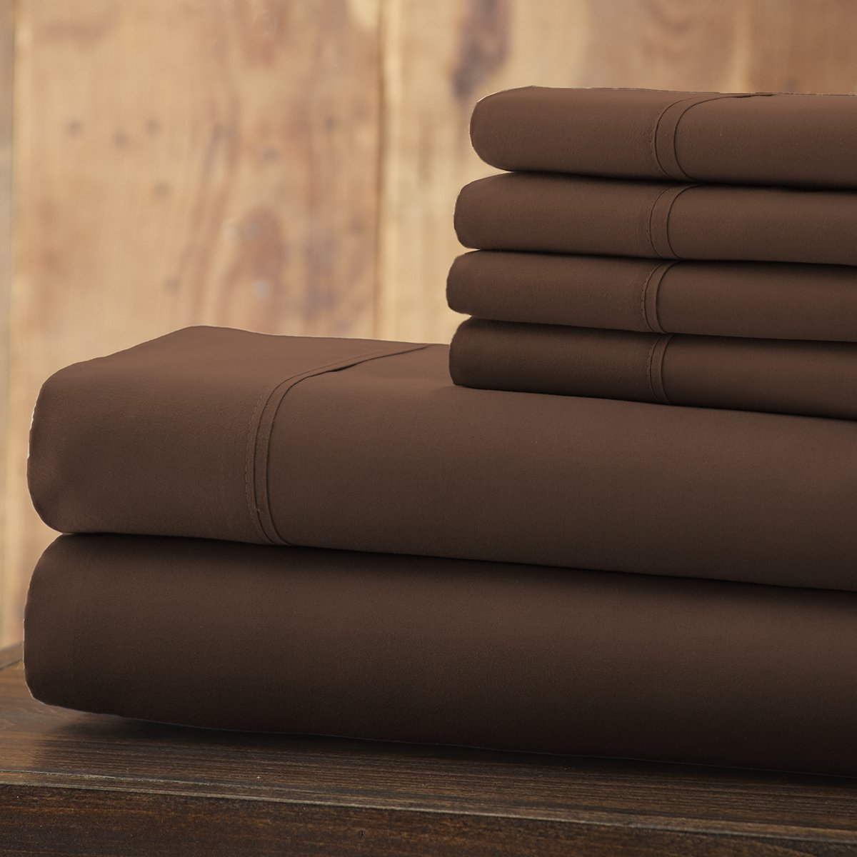 Spirit Linen 6 Piece Everyday Essentials 1800 Series Sheet Set, Queen, Chocolate