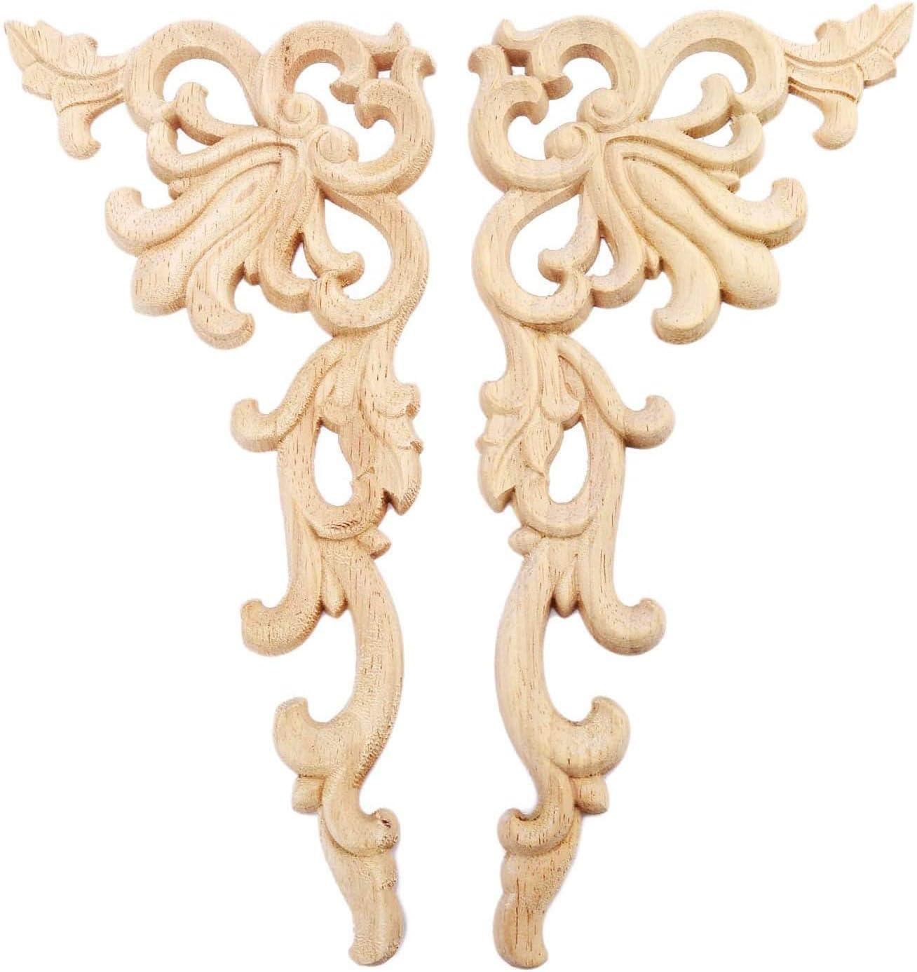 Domilay 4 Pi/èCes S/éRies Europ/éEn Floral Artisanat Meubles D/éCoratifs Sculpt/é Applique Bois Moderne Mur Cadre Coin Porte