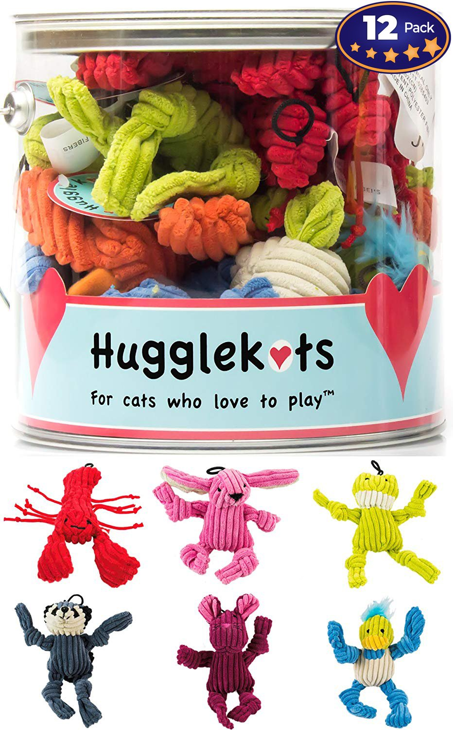 Plush Cat Toys With Catnip 12 Pack: Mini Animals. Each Bucket Comes With 3 Varieties of Stuffed Cat Toy Designs. Twelve Toy Value Pack Plus a Fun Storage Container. Squeeze to Release Catnip Scent!