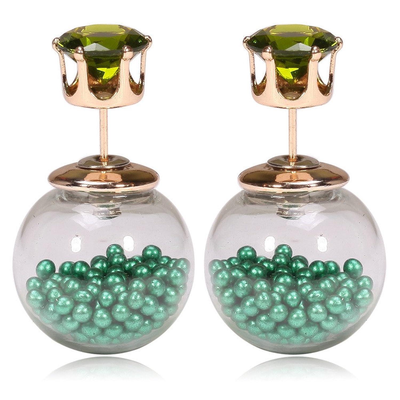 Dana Carrie Microesferas de vidrio joyería con 7 pequeñas bolas de color circón niñas corona tornillos oreja verde