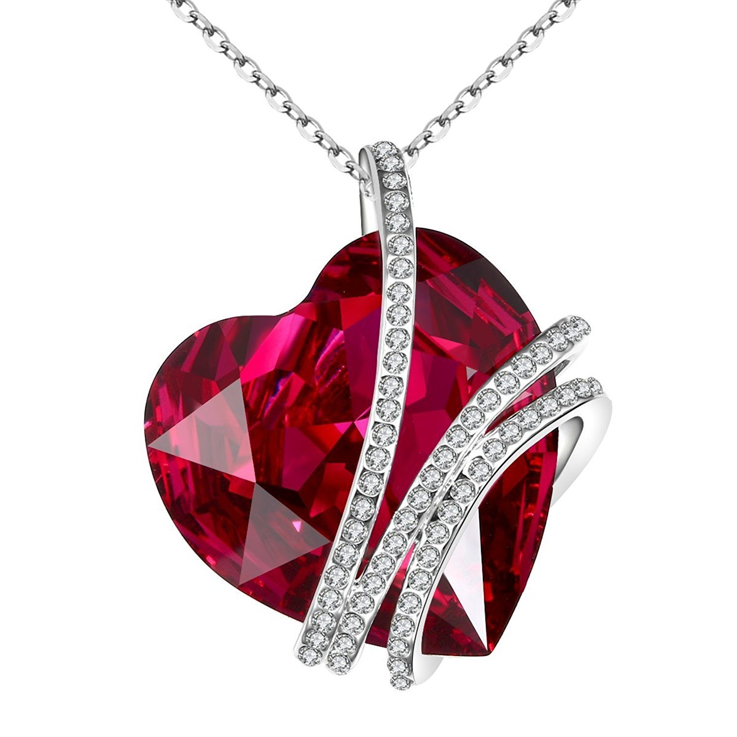 Carfeny Big Heart Red Swarovski Crystal Necklace Pendant Women With Chain