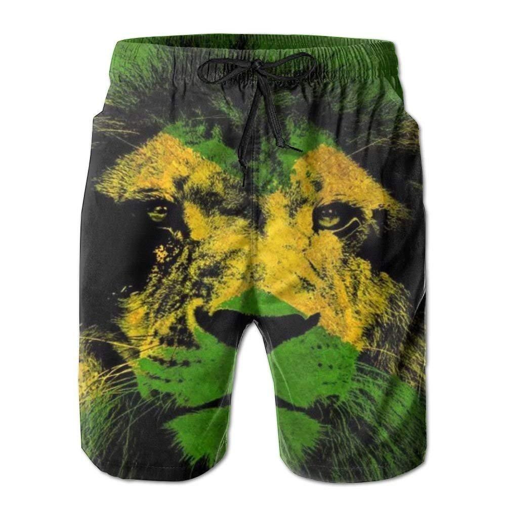 EEMNJIHH Jamaican Flag with Lion Mens Swim Trunks Boardshort Beach Shorts