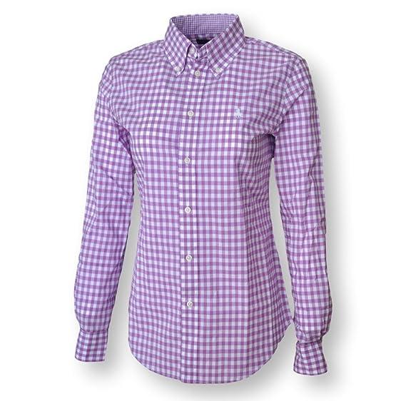 Polo Ralph Lauren Women\u0027s L/S Custom Fit Gingham Shirt, Spring Purple/White