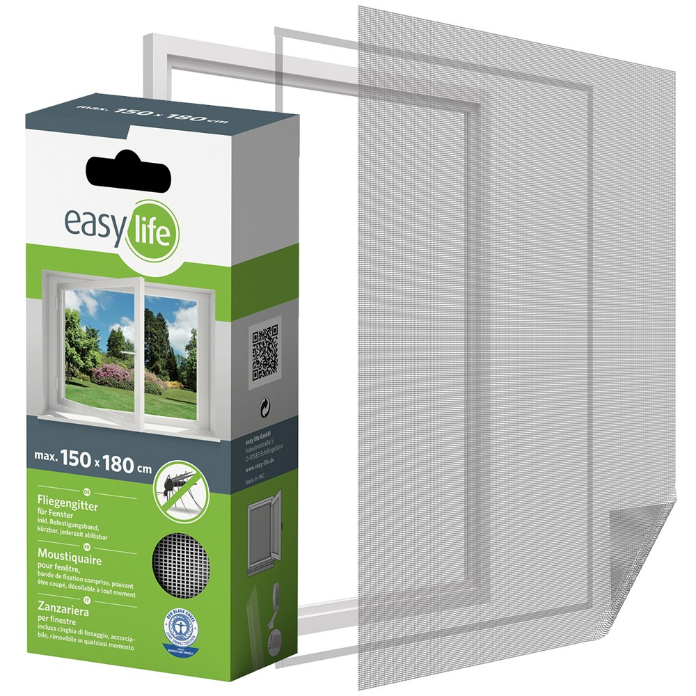 Insect Protection Fly Screen for Window 150 x 180 cm Insect protection window can be shortened - White easy life