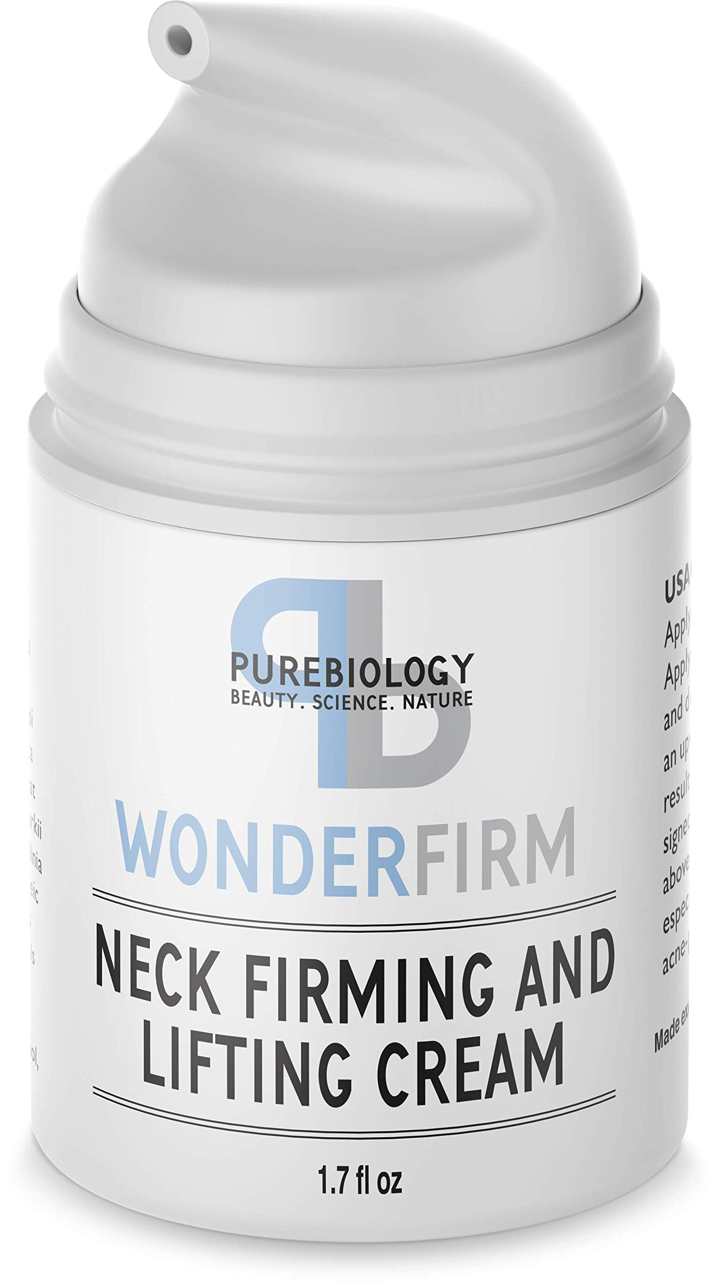 Neck Firming Cream with Natural Anti Aging Oils, Vitamins C & E, Hyaluronic Acid to Reduce Appearance of Wrinkles, Fine Lines & Dark Spots - Neck, Chest & Décolleté Skin Care for Men & Women by Pure Biology
