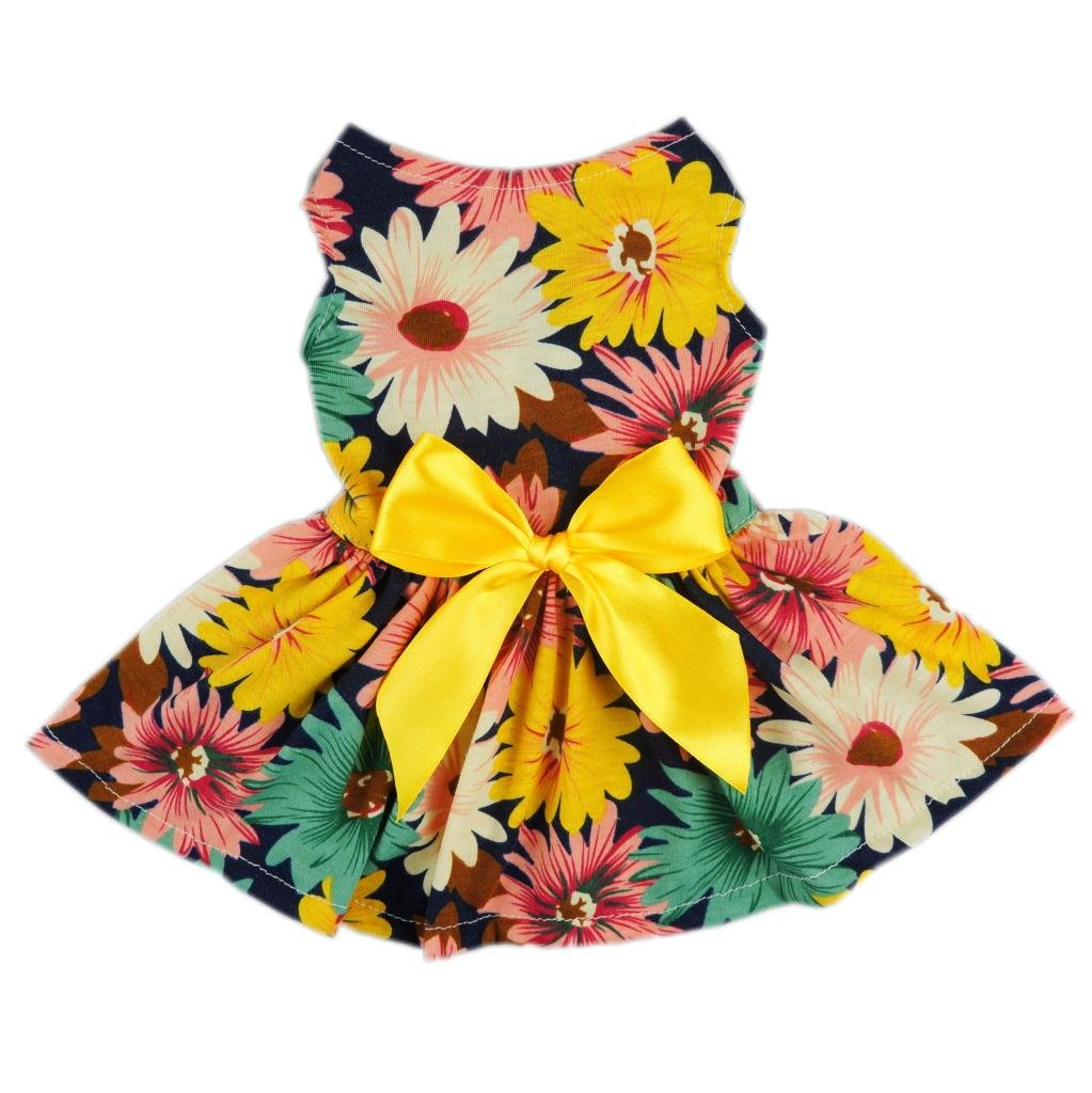 Fitwarm Pet Elegant Floral Ribbon Dog Dress Shirt Vest Sundress Clothes Apparel, X-small