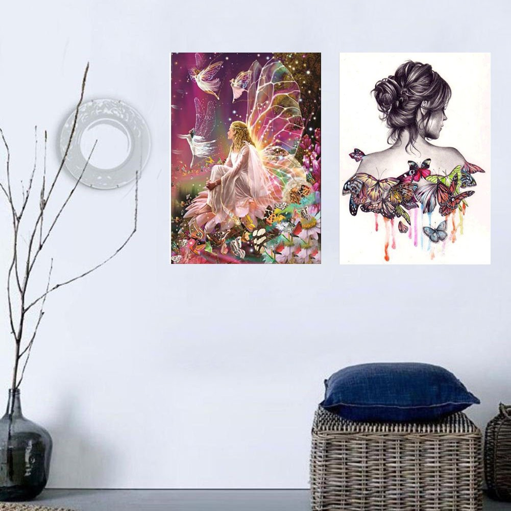 5D Diamond Painting 2 Pack DIY Butterfly Beauty Girl and 5D Full Drill Diamond Painting Flower Fairy Embroidery Painting Arts Craft Handmade Wall Painting for Home Decoration 12X16inch