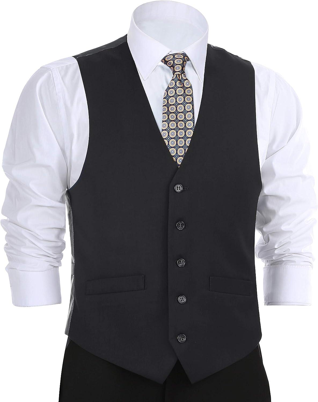 CHAMA Men's Formal Classic Fit Business Dress Suit Button Down Vest Waistcoat(50 Regular,Black)