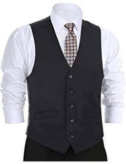 ecf75ff3388 Chama Men s Formal Suit Vest Business Vest Waistcoat 5 Button Regular Fit