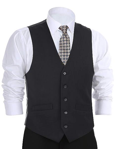 CHAMA Men\u0027s Formal Suit Vest Business Vest Dress Vest Waistcoat 5 Button  Regular Fit