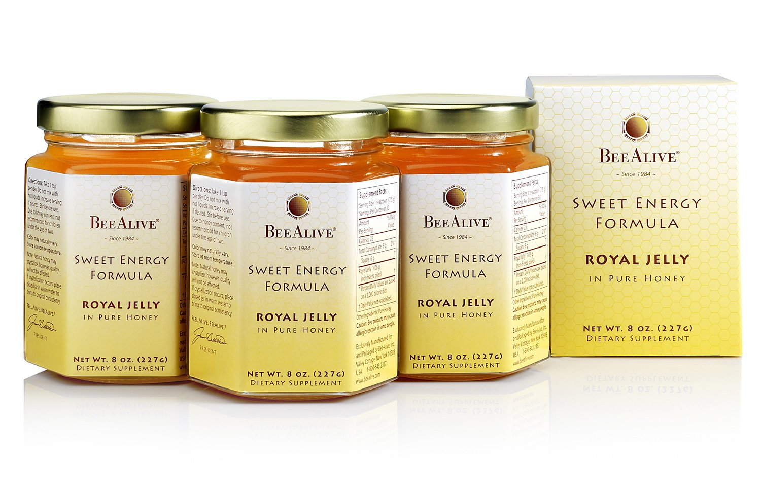 BeeAlive Sweet Energy Formula, Queen's Harvest Royal Jelly and Honey (3 Month Supply)