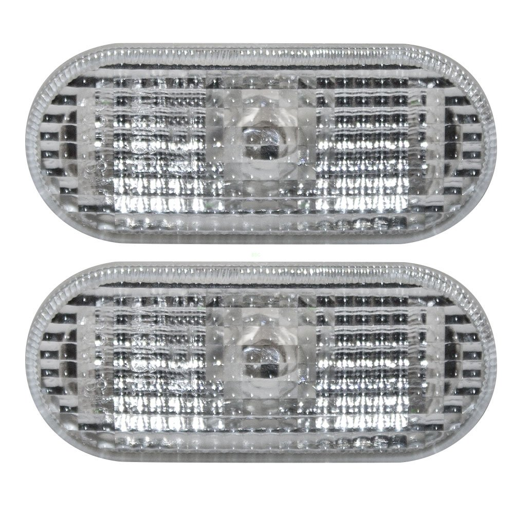 Pair of Signal Side Repeater Lights Lamps with White Lens Replacement for Volkswagen 1J0 949 117 A AutoAndArt