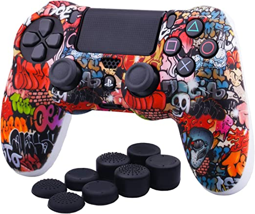 YoRHa Water Transfer Printing Camouflage Silicone Cover Skin Case for Sony PS4//slim//Pro Dualshock 4 Controller x 1 Eyes with Thumb Grips x 10