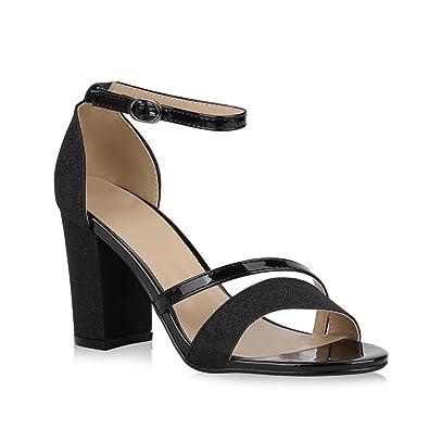 Stiefelparadies Damen Riemchensandaletten mit Blockabsatz Lack Glitzer Flandell