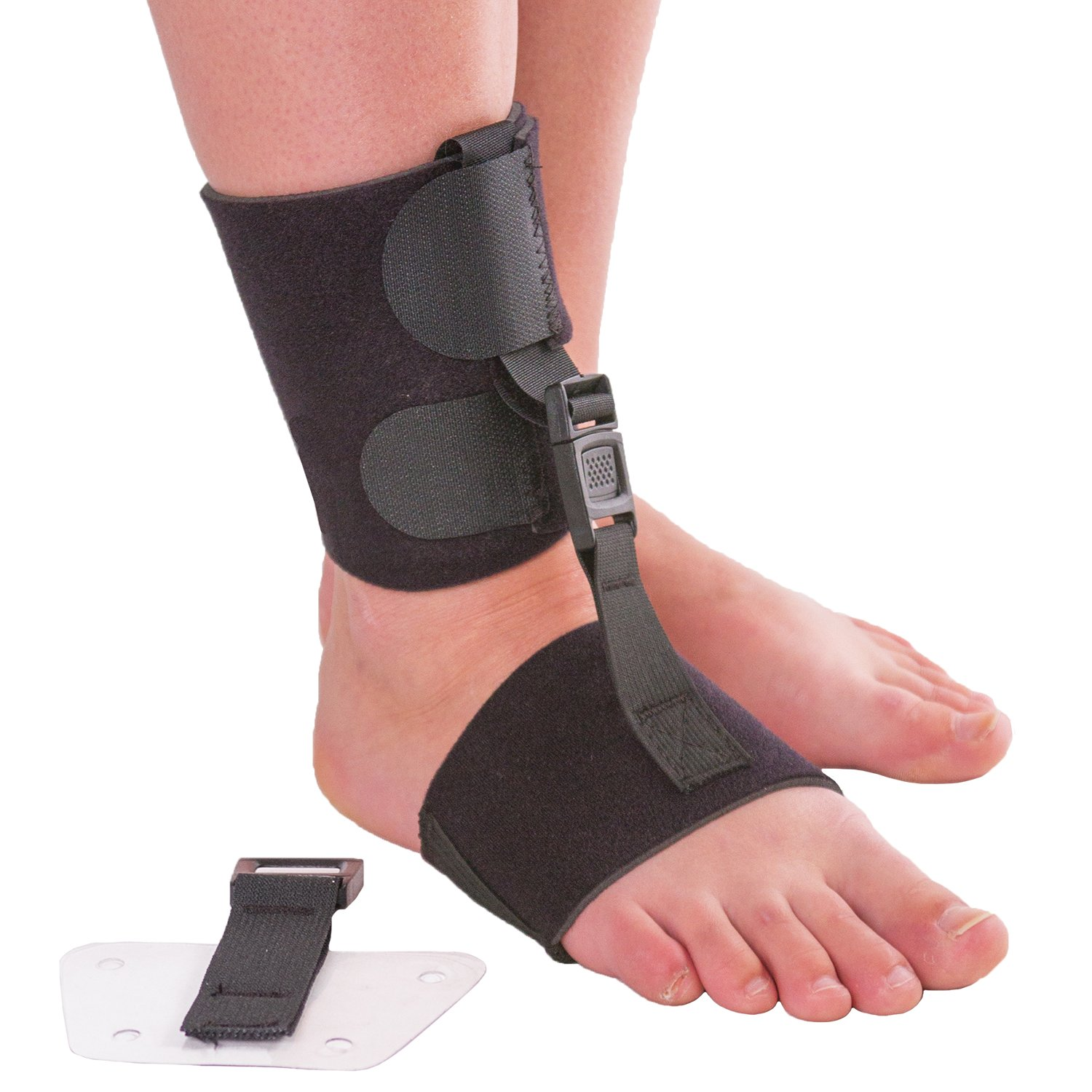 Soft AFO Foot Drop Brace | Ankle Foot Orthosis with Dorsiflexion Assist Strap Keeps Foot Up for Improved Walking Gait, Prevents Cramps - Wear Barefoot or Inside Shoe (L/XL - Fits Right or Left Foot) by BraceAbility