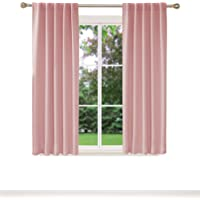 Deconovo Short Blackout Curtains for Small Windows Thermal Insulated Rod Pocket and Back Tab Curtains 42x45 Inch Coral…