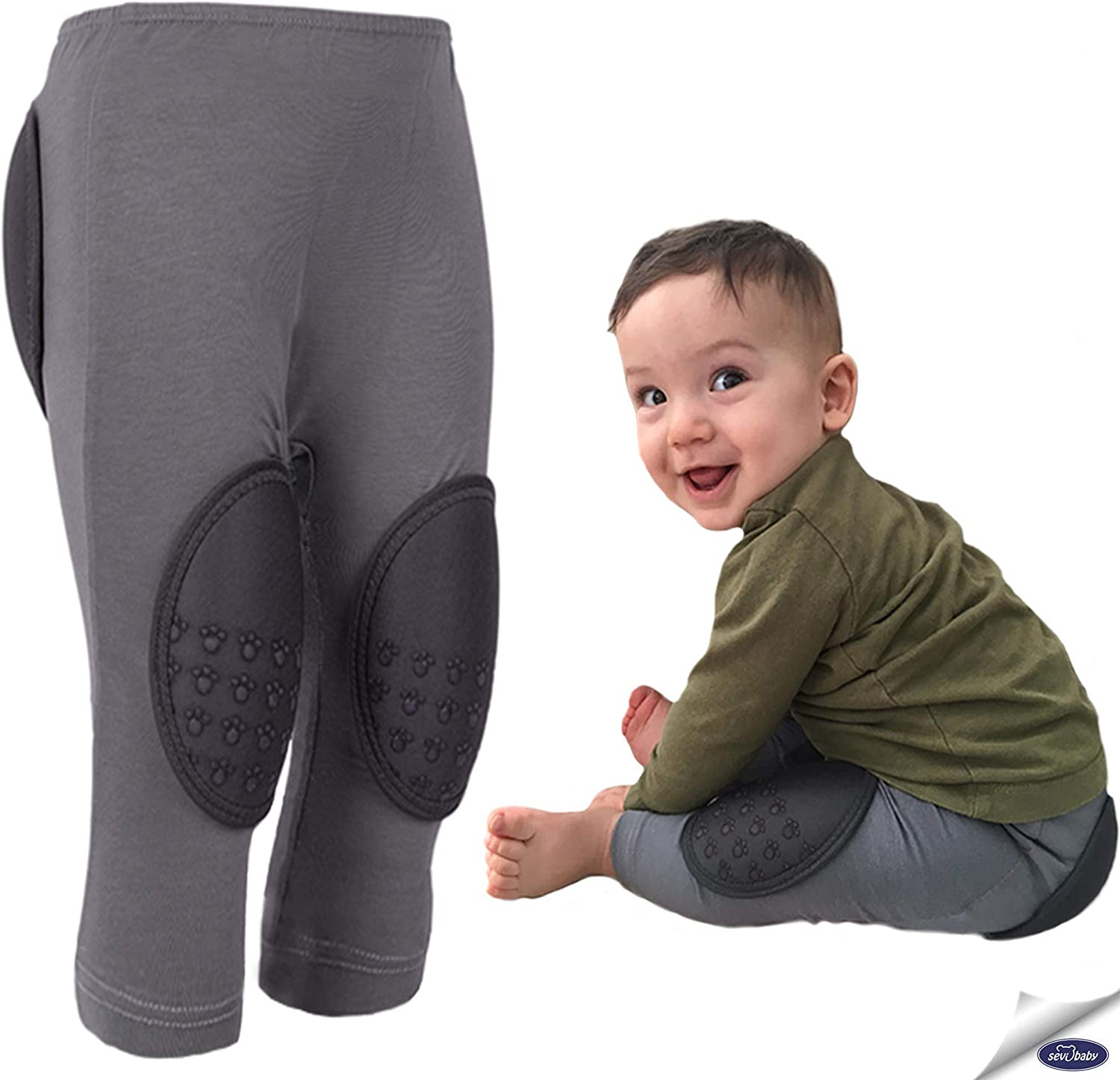 Sevi Baby Protective Pants for Babies, Padded Pants for Toddler, Patented Crawling Pants for Babies (Made in Turkey) - Gray: Clothing