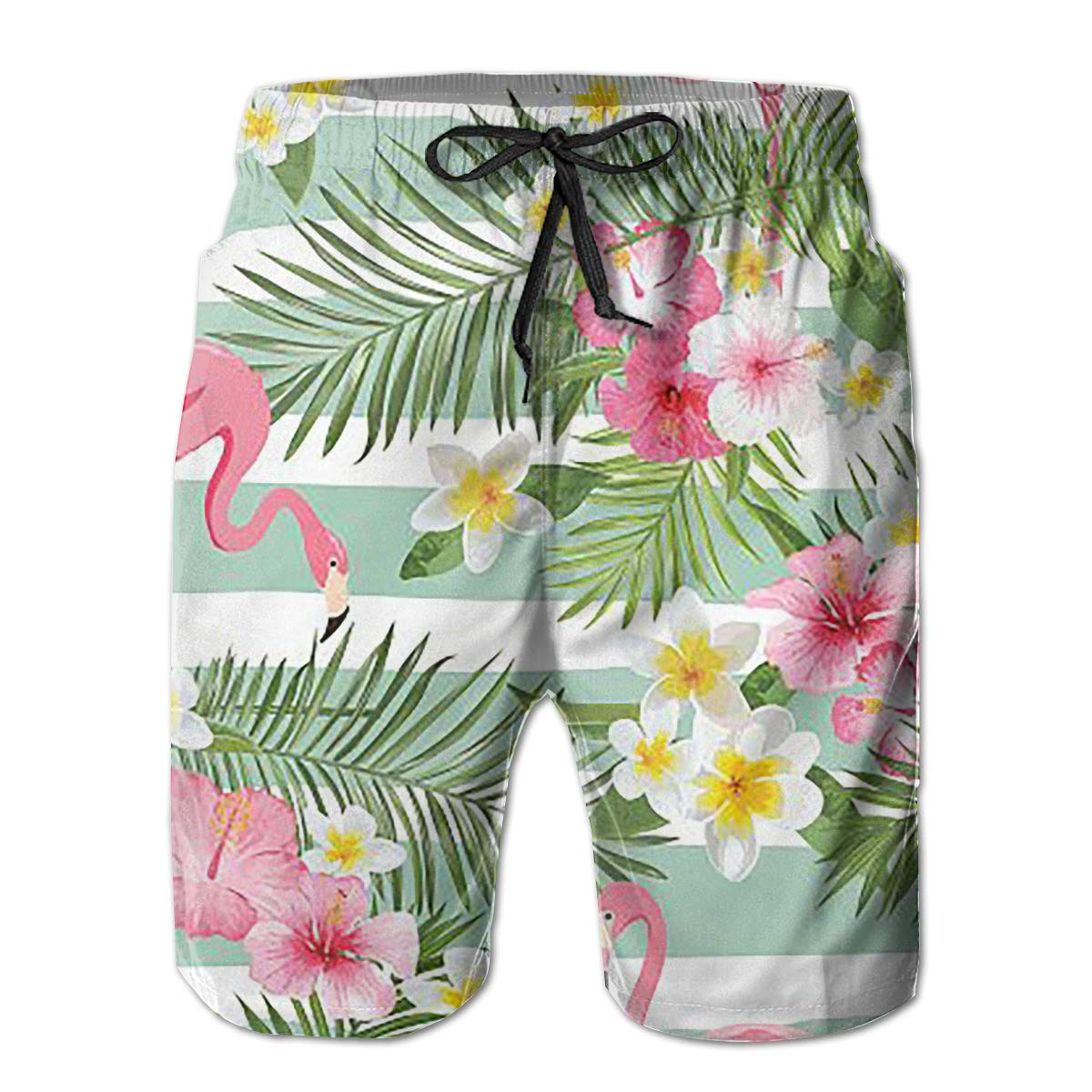 Rain Forest and Flamingo Mens Board Shorts Swim Mesh Lining and Side Pocket