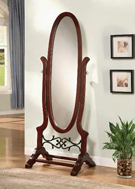 Wildon Home Cherry Full Length Standing Seatac Cheval Floor Mirror   This  Oval Floor Mirror Is