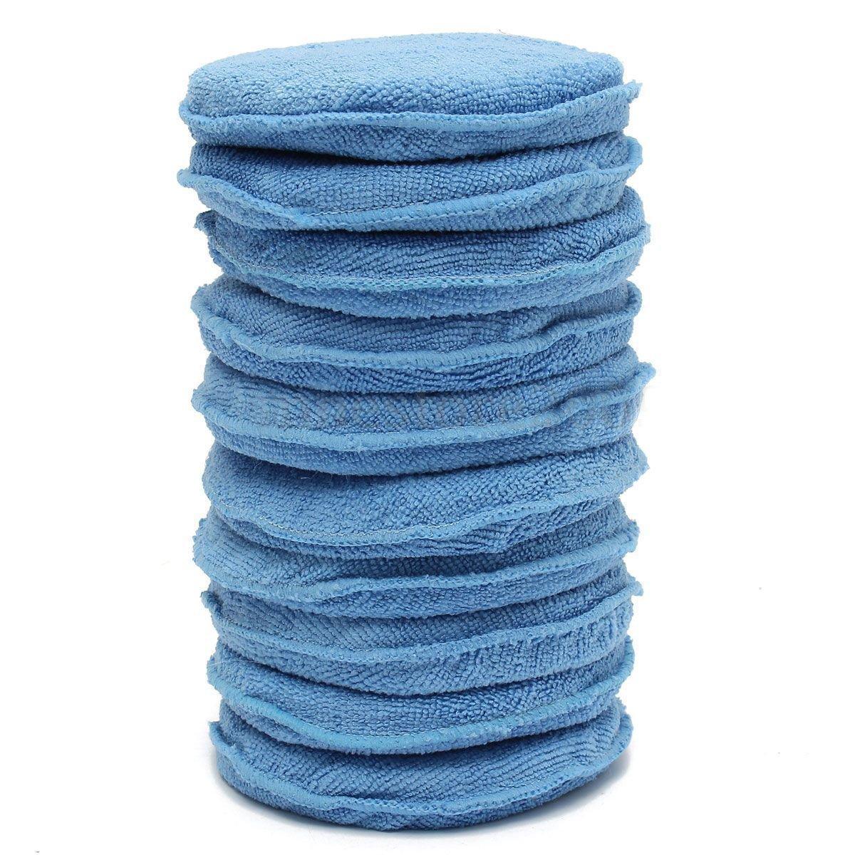 Car Waxing Foam Sponge Pads - SODIAL(R) 10x Car Waxing Polish Microfiber Foam Sponge Applicator Cleaning Detailing Pads 4333122312