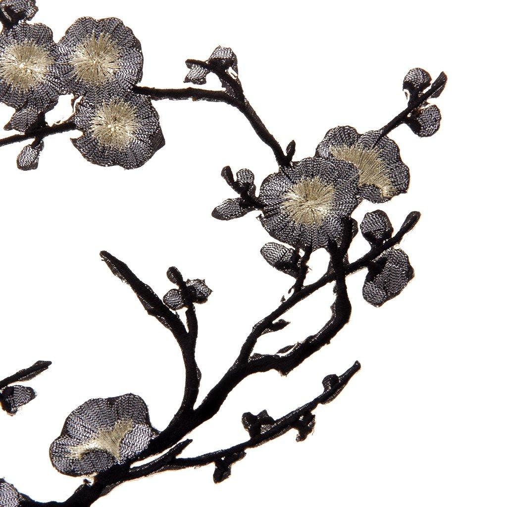Parche Motivos DIY Decoraciones 14cm Oro negro 37cm 1pcs Apliques De Encaje Ciruelo Del Bordado Flor