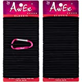 AwEx LARGE Black Hair Ties for Thick Hair,72 PCS,4 mm Thick,BIG Hair Elastics No Metal, Workable as Elastic Bands for Masks,No Pull Ponytail Holder