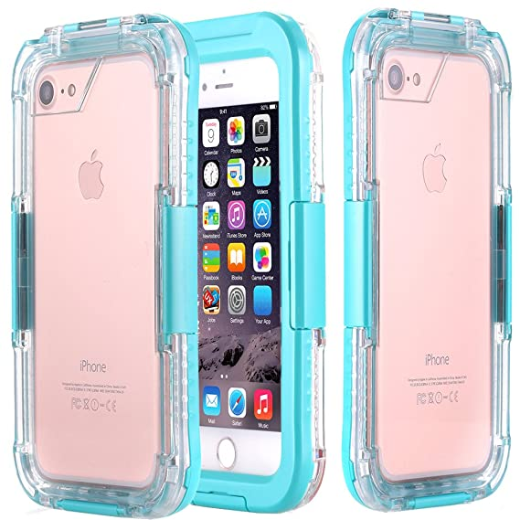 big sale 5ecb8 db3ee AICase iPhone 8 Plus/ 7 Plus Waterproof Case,[Heavy Duty] Built-in Screen  Protector 2 in 1 Clear PC & TPU Rugged Shork/Snow/Dirt Dirtproof Waterproof  ...