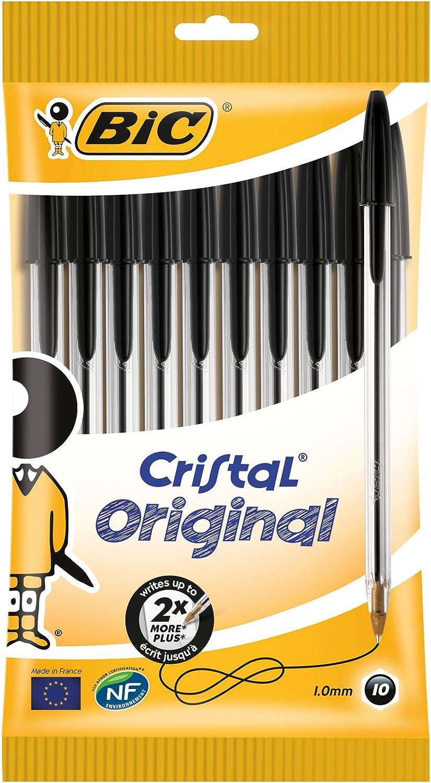 BIC Cristal Original - Bolígrafos punta media, 1.0 mm, Blíster de ...