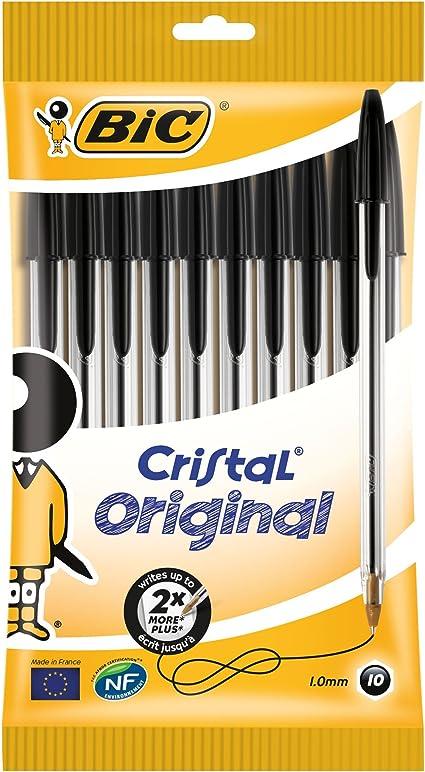 BIC Cristal Original - Bolígrafos punta media, 1.0 mm, Blíster de 10 unidades, Negro: Amazon.es: Oficina y papelería