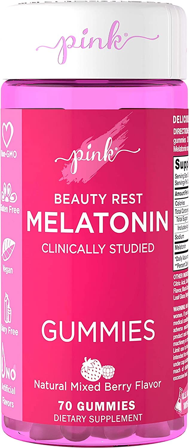 Pink Beauty Rest Melatonin for Women | 10 mg Max Potency | 70 Mixed Berry Flavor Gummies | Melt The Day Away | Vegan, Non-GMO & Gluten Free | Clinically Studied | Created by Women for Women