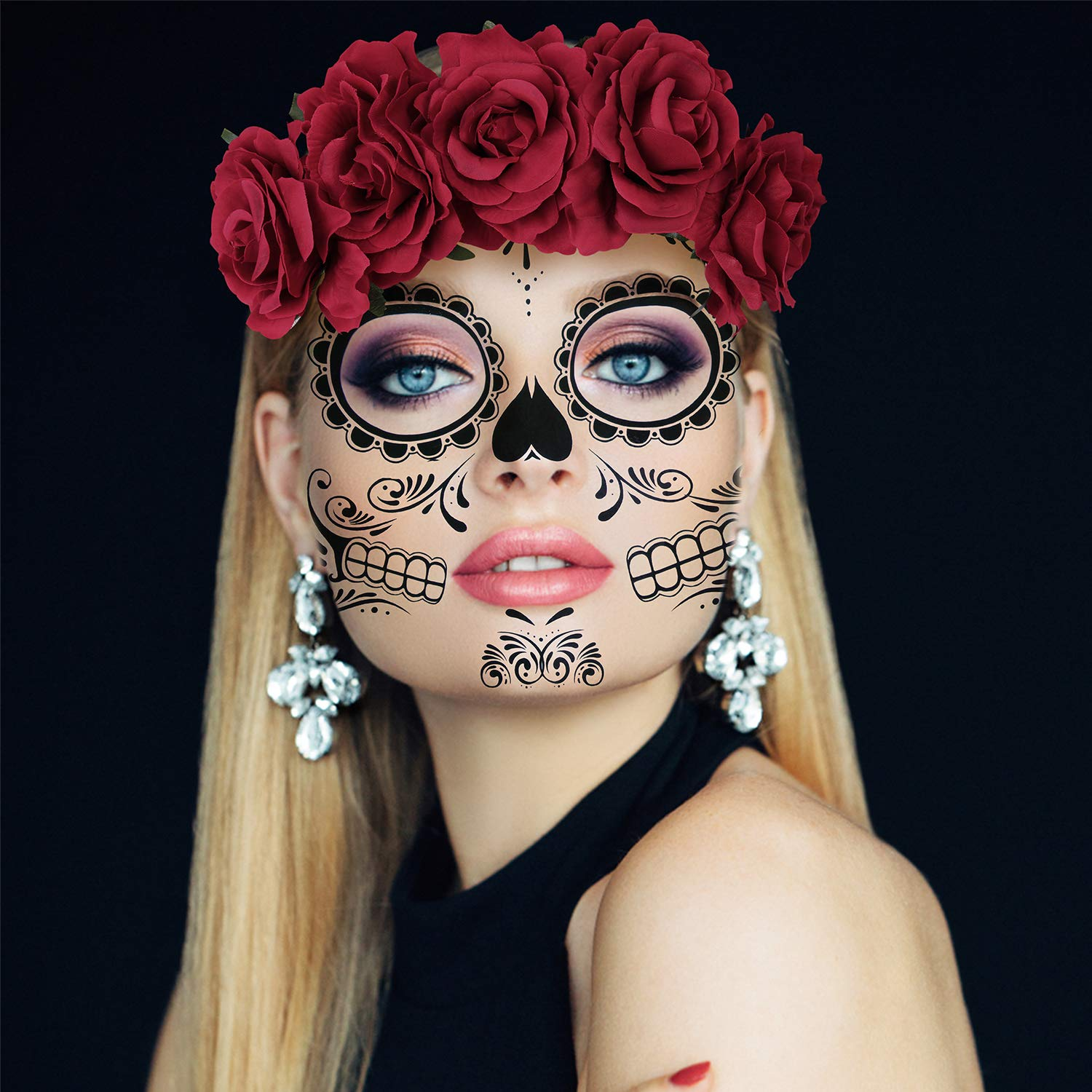 4 Kits Day of the Dead Sugar Skull Temporary Face Tattoo Makeup Tattoo for Men and Women with 1 Rose Red Flower Crown Headband for Halloween Costume by AFSTEE