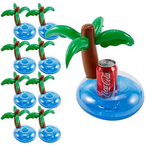 8pcs Portabebida Flotantes Flotadores Pasavaso Hinchable para Lata de Bebida Botella Piscina Bañera Juguetes de Baño