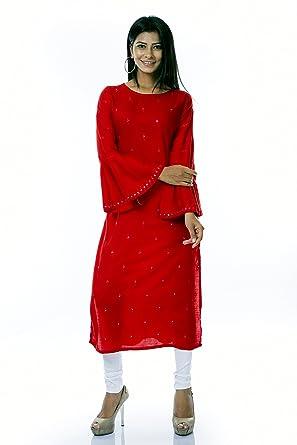 d11eebcd000 Ladyline Womens Plain Mirror Work Tunic Top Bell Sleeves Long Kurti Kurta  Evening Embroidered  Amazon.co.uk  Clothing