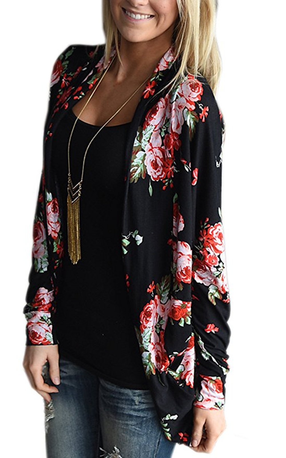 DDSOL Womens Kimono Cardigan Floral Long Sleeve Open Front Cardigans Cotton Cover up Jacket