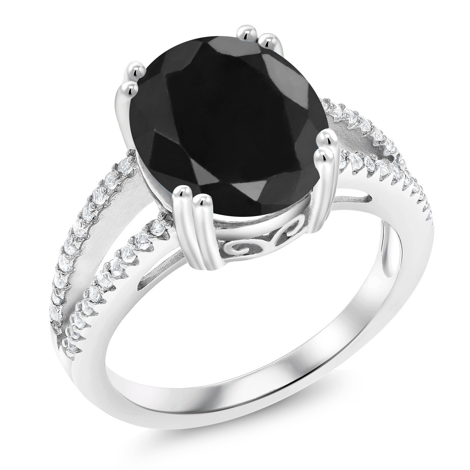 4.88 Ct Oval Black Sapphire 925 Sterling Silver Ring (Size 6) by Gem Stone King