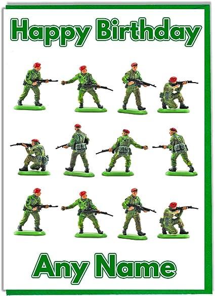 Carte D Anniversaire Personnalisee De Soldats Militaires Ajouter Un Nom Et Un Age Amazon Fr Fournitures De Bureau
