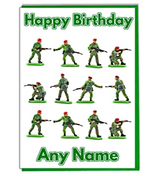 Military Army Toy Soldiers Personalised Birthday Card Add A Name