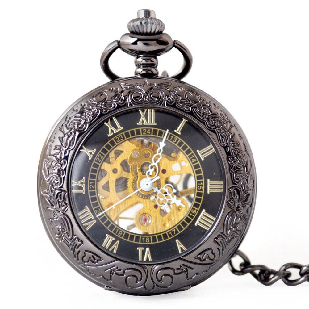 SW Watches Espejo Retro Hueco Esqueleto Reloj De Bolsillo Mecánico Automático Reloj De Cadena Unisex,Gun: Amazon.es: Hogar