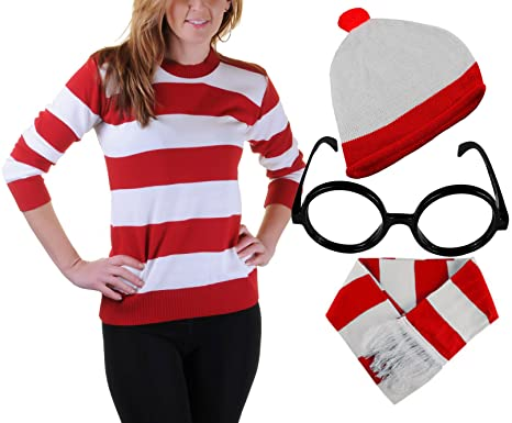 3093f72ee2 Red & White Stripe Jumper Wheres Wally Mens Womens Fancy Hat Nerd Glasses  Scarf#(
