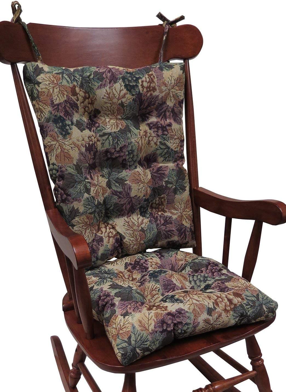 Klear Vu The Gripper Non-Slip Cabernet Tapestry Jumbo Rocking Chair Cushions