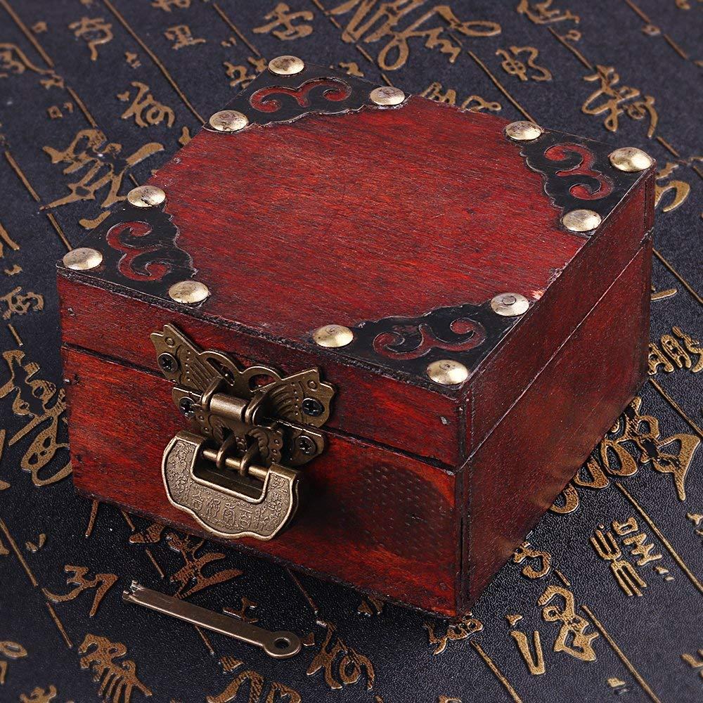 Antiguo estilo chino tallado vintage Love Lock con llave y cierre de mariposa y tornillos para gabinete joyero caja de regalo