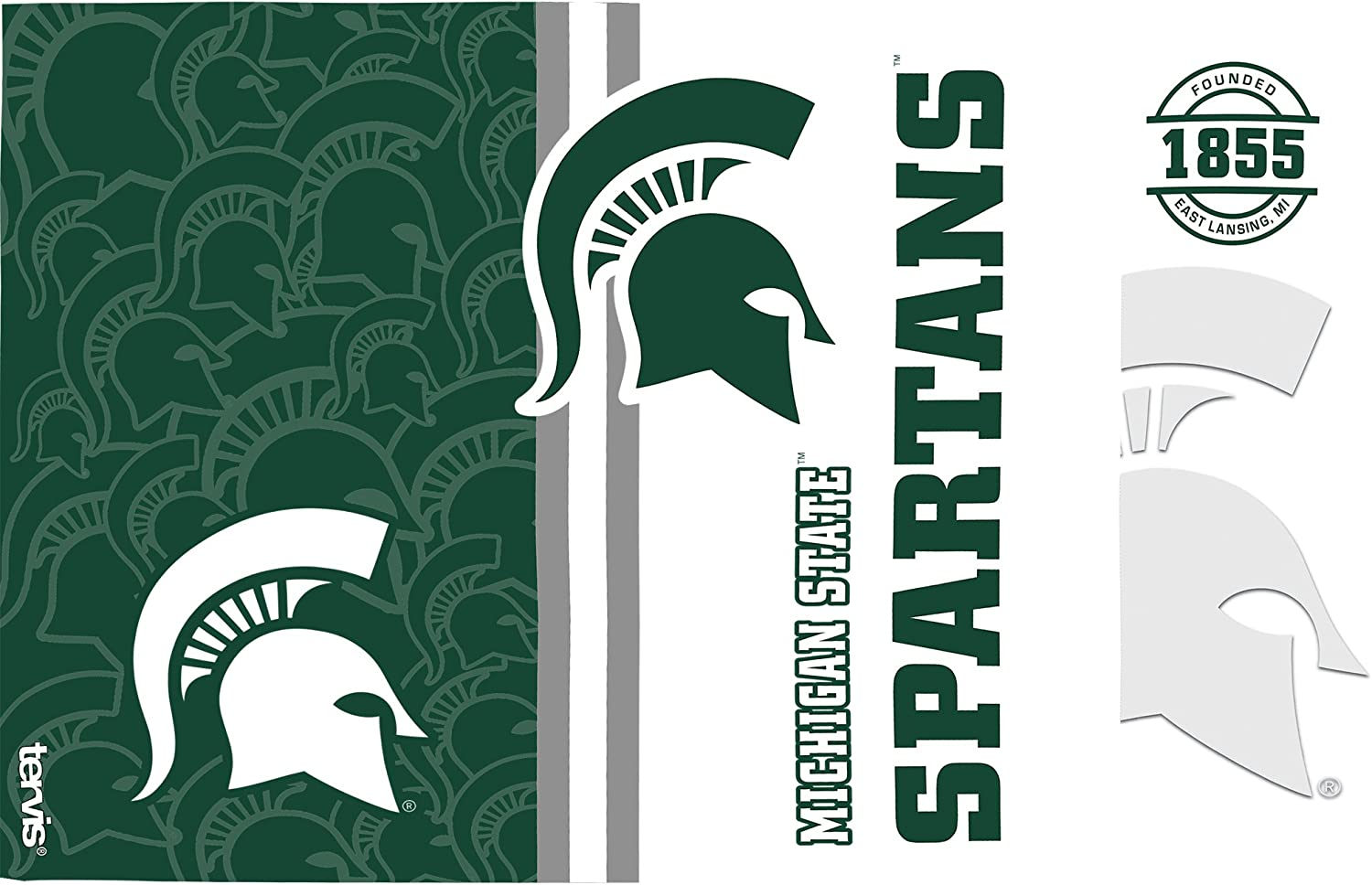 Tervis 1240640 Michigan State Spartans College Pride and Colossal Insulated Tumbler with Wrap and Hunter Green Lid 2 Pack-Boxed Clear 16oz