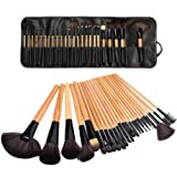 LyDia® UK STOCK Professional 24pcs Natural Wooden handle Black/brown Make Up Brush Set with Case